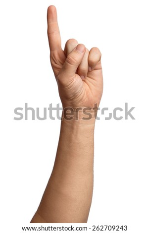 Hand on Isolated white background. Alpha. One finger. Forefinger. 1 - stock photo