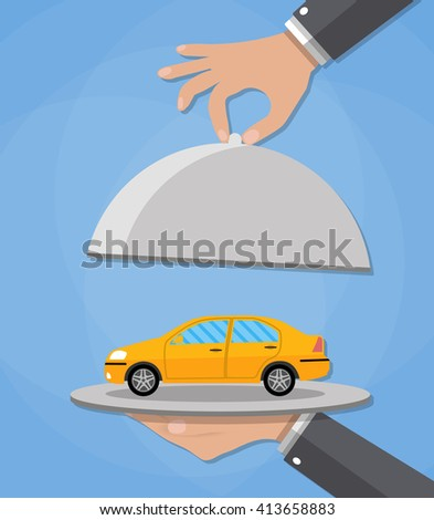 Hand opens serve cloche with yellow car inside. present concept. illustration in flat design on blue background. - stock photo