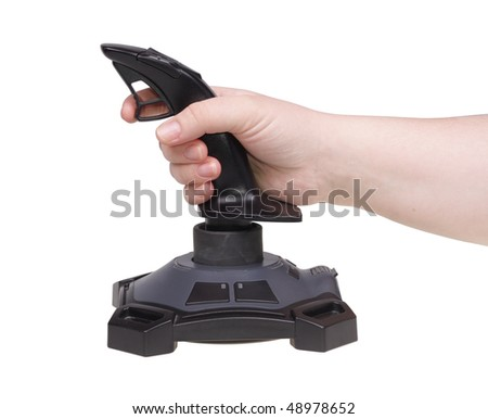 Hand operating joystick. Isolated on a white background - stock photo