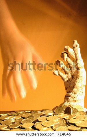 Hand Out of money 2 - stock photo