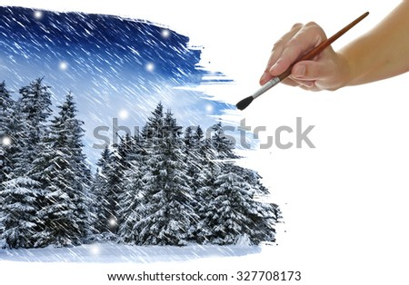 hand paint picture with autumnal foliage - stock photo