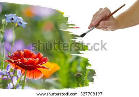 hand paint picture with red poppies - stock photo