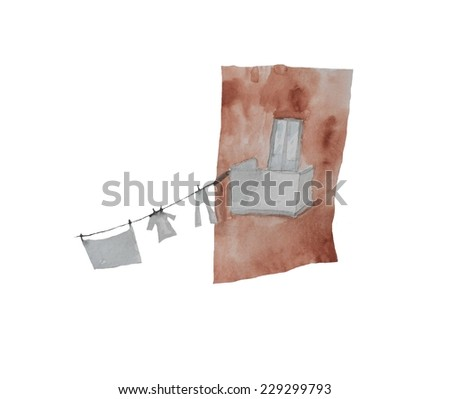 Hand paint watercolor balcony with linen pattern. (Can be used as texture for cards, invitations, DIY projects, web sites or for any other design) - stock photo