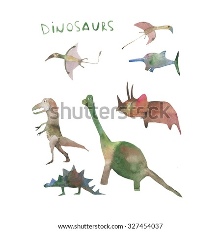 Hand paint watercolor dinosaurs set pattern. (Can be used as texture for cards, invitations, DIY projects, web sites or for any other design) - stock photo