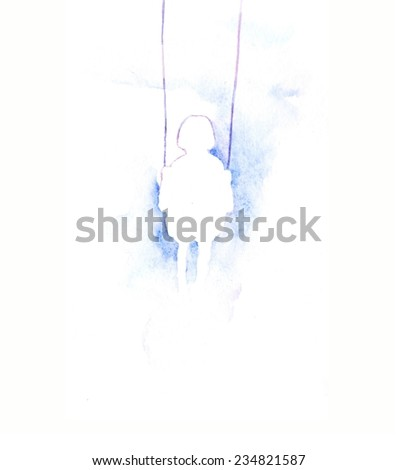 Hand paint watercolor greeting card with little child. (Can be used as texture for cards, invitations,web sites or for any other design). Little child  on white background with place for your text.  - stock photo