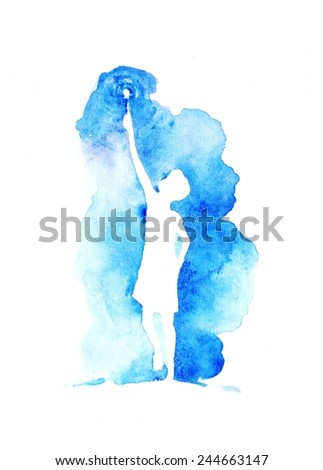 Hand paint watercolor greeting card with little child. (Can be used as texture for cards, invitation, web sites or for other design). - stock photo