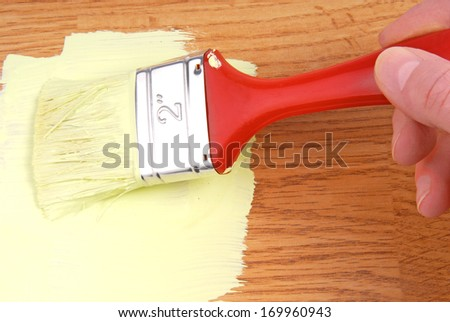 hand paint wooden surface - stock photo
