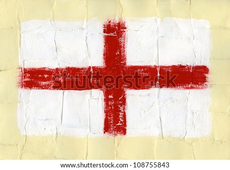 Hand painted acrylic flag of England - stock photo