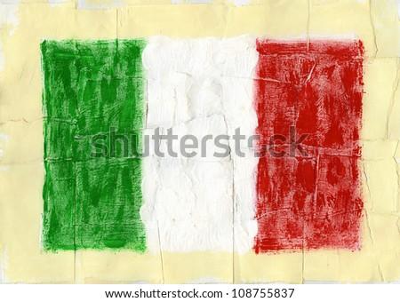 Hand painted acrylic flag of Italy - stock photo