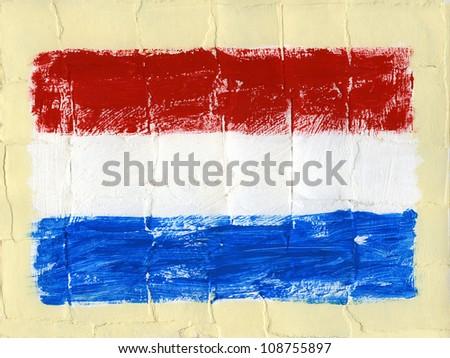 Hand painted acrylic flag of Netherlands - stock photo