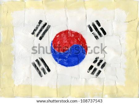 Hand painted acrylic flag of South Korea - stock photo