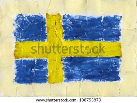 Hand painted acrylic flag Sweden - stock photo