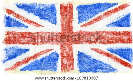 Hand painted acrylic Great Britain, UK flag - stock photo