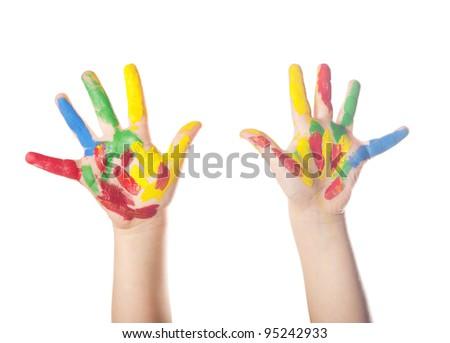 Hand Painted Child. Isolated on white background - stock photo