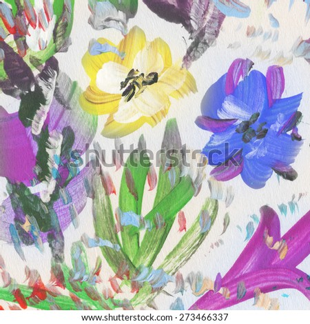 Hand painted colorful flowers. Floral background. Watercolor painting - stock photo