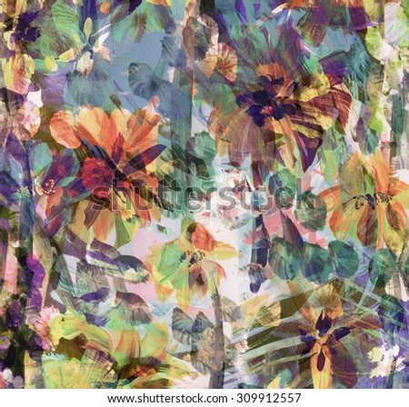 Hand painted colorful flowers floral background. Watercolor painting. - stock photo