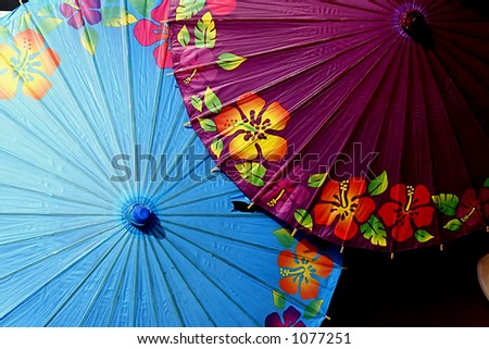 Hand painted colorful umbrellas in central Java Indonesia - stock photo