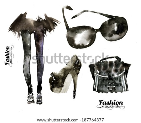 Hand painted contemporary fashion illustration - stock photo