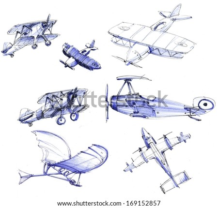 Hand painted flying machines - stock photo