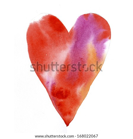Hand-painted heart design - stock photo
