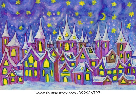 Hand painted illustration, watercolours - Dreamstown. Can be used as illustration for fairy tales books for children, Christmas pictures.  - stock photo