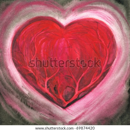 Hand-painted picture showing the ill heart.Picture I have cterated with watercolors. - stock photo