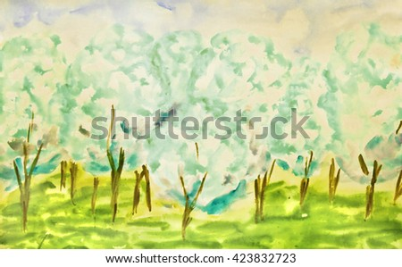 Hand painted picture, watercolor, white apple garden in spring in blossom. - stock photo