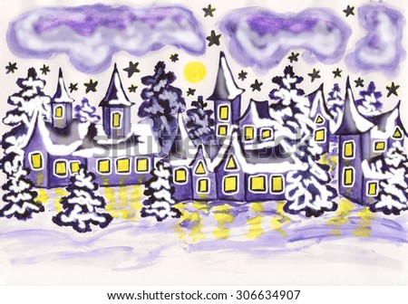 Hand painted picture, watercolor - winter landscape with houses and spruces in violet colour, holiday postcard to Christmas and New Year holidays.  - stock photo