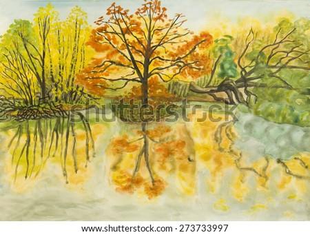 Hand painted picture, watercolours - autumn landscape. Size of original 41,5 x 30 sm. - stock photo