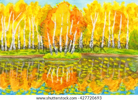 Hand painted picture, watercolours - autumn landscape, yellow birch forest with reflection in water and little island with birches. Painted from real landscape in park Sokolniki in Moscow.  - stock photo