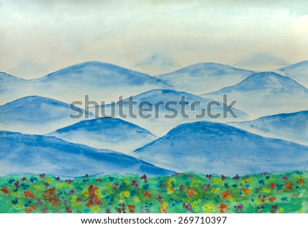 Hand painted picture, watercolours, landscape with blue hills and flowers. - stock photo