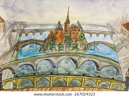 Hand painted picture, watercolours, symbolic view of Paris. - stock photo