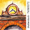 Hand painted retro clock on chimney.Picture I have created with watercolors. - stock photo