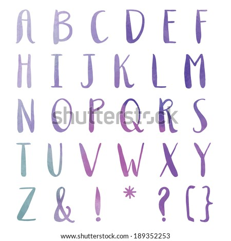 Hand Painted Watercolor Alphabet. Alphabet Letters. Colorful Letters. ABCs. - stock photo