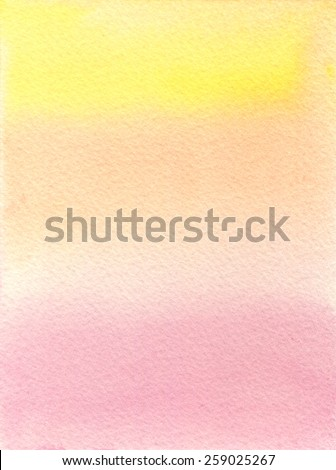 Hand-painted watercolor background in soft, gradated tones of pink and yellow, on rough-textured watercolor paper. Hand drawn using transparent watercolor paint. - stock photo