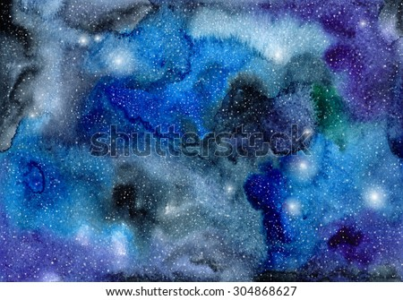 Hand painted watercolor background. Watercolor wash. Abstract galaxy painting. - stock photo