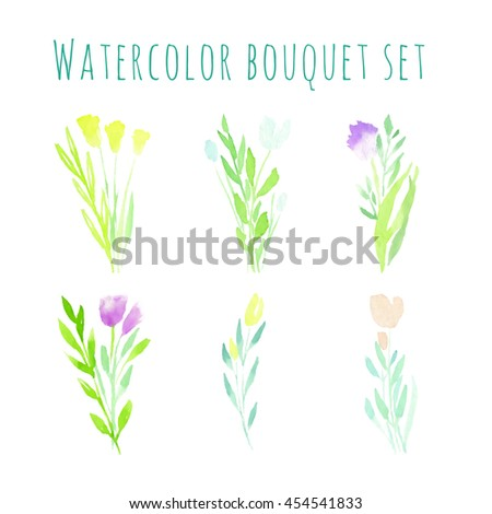 Hand painted watercolor bouquet set. Yellow. red and violet flowers on green and blue leaves. - stock photo