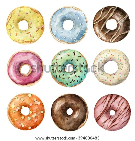 hand painted watercolor glazed donuts set isolated on white. Bright and colorful design of eight donuts. Collection of yummy frosted donuts.  - stock photo