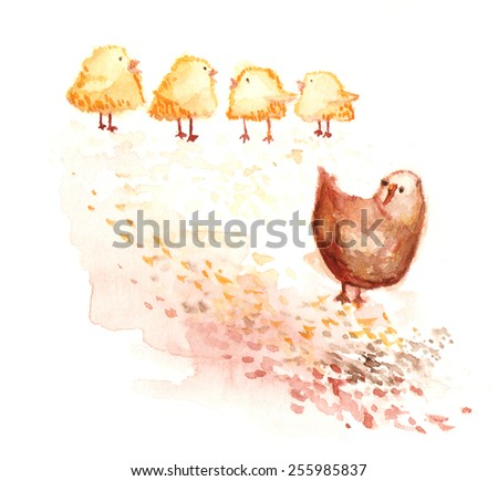 Hand painted watercolor picture of chicken family - stock photo