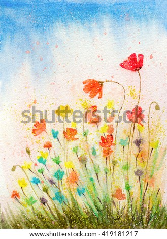 hand painted watercolor poppies flowers with textured color drops - stock photo