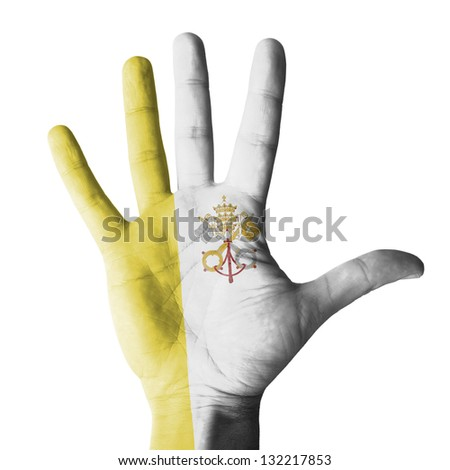 Hand painted with Vatican flag - isolated on white background - stock photo