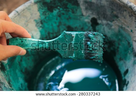 Hand Painting  green color - stock photo