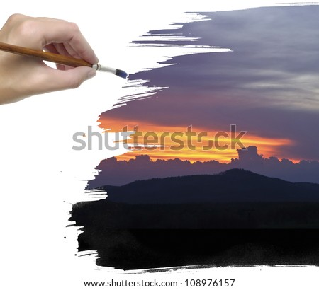 hand painting sunset sky with clouds - stock photo