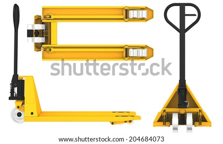 hand pallet truck isolated on white background - stock photo