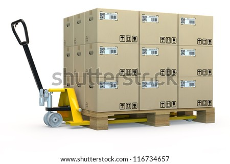 Hand pallet truck with a pallet full of boxes in 3D - stock photo