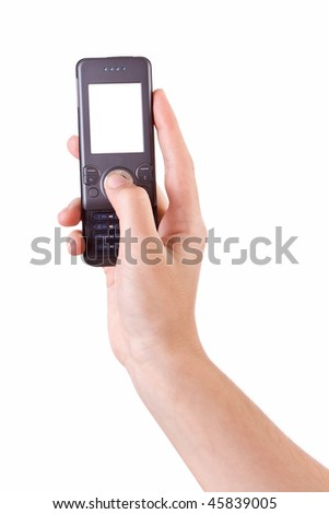 Hand photographing with mobile phone isolated on white - stock photo