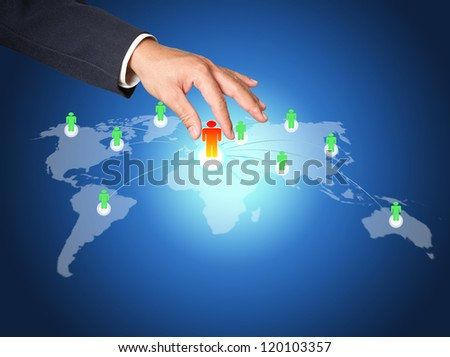 Hand pick red man of Social Network structure - stock photo