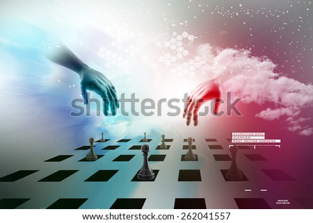 Hand picking the black pawn   - stock photo