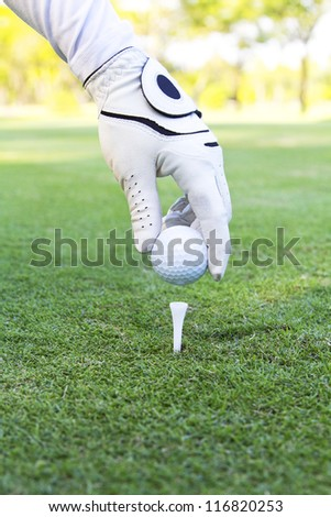 Hand placing golf ball on tee - stock photo