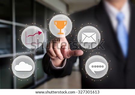 Hand point business and Social Network - stock photo